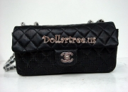 Chanel perforated classic flap bag East/west black