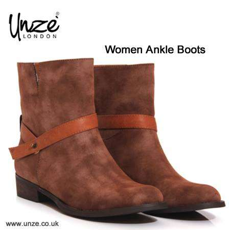 Women low heel pull on ankle boots with buckle detail