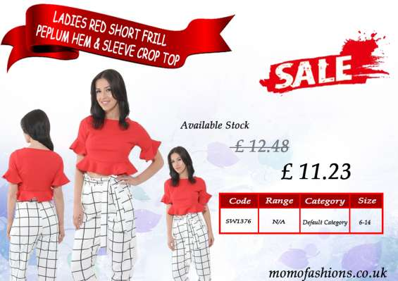 Ladies red short frill peplum hem & sleeve crop top uk