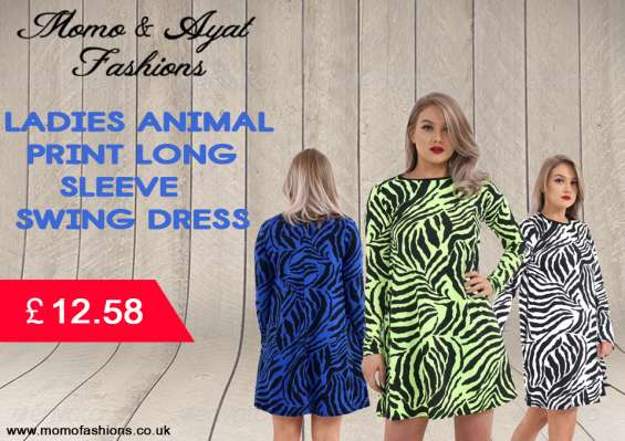 Ladies white/black zebra animal print long sleeve swing dress uk