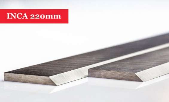 Inca planer blades knives 220mm long without slots - 1 pair