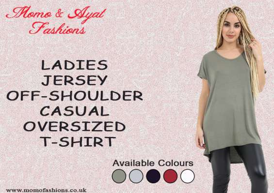 Ladies wine jersey off-shoulder casual oversized t-shirt uk size 8-26