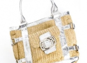 Guess Straw and Sliver Crocodile Tote