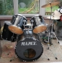 5 Piece Black Mapex Drum incl Cymbals, Hardware and Double Bass Drum Pedal