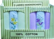6 Ladies Gift Boxed 100% Cotton Handkerchiefs
