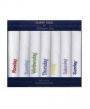 7 Pk Mens Boxed 100% Cotton Emb 1 A Day Handkerchiefs