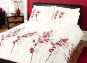Oriental flower red double duvet cover & 2 pillow cases