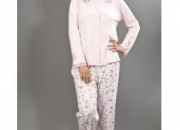 Womens Floral Knitted Long Sleeve Pyjama Suit