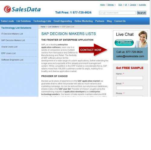 Target your market with high-response sap user email lists