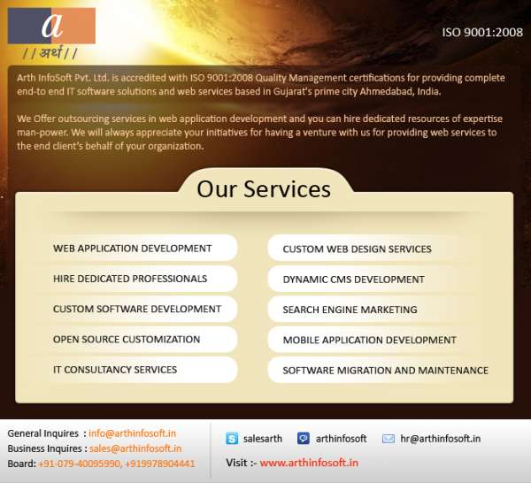 Arth infosoft web development company offered reasonable it services