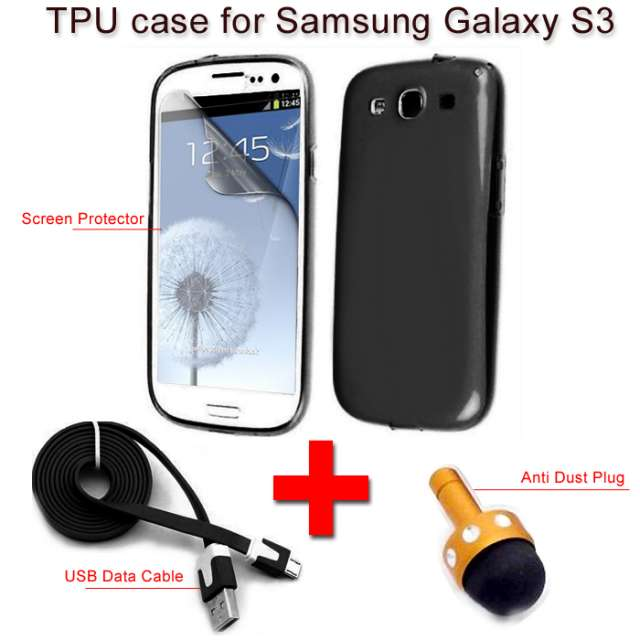 Soft tpu silicone gel back case cover for samsung galaxy s3 +stylus+ data cable