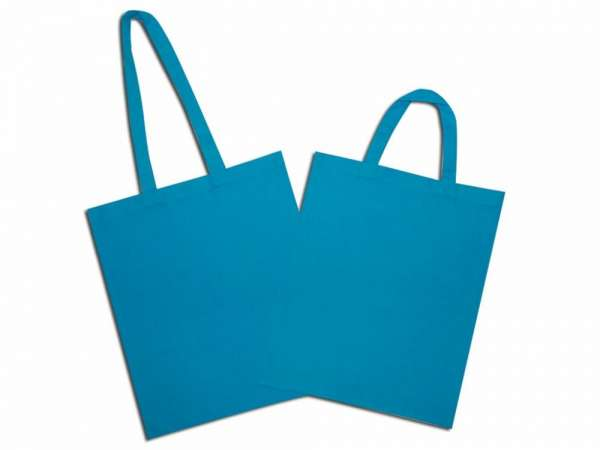 Solid turquoise blue natural cotton bag with long and short handle