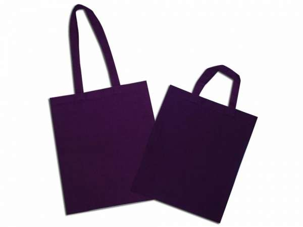 Solid violet natural cotton bag with long and short handle