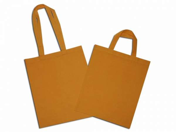 Solid yellow natural cotton bag with long and short handle