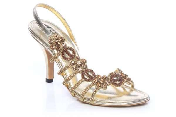 Women rhinestone detail evening sandals