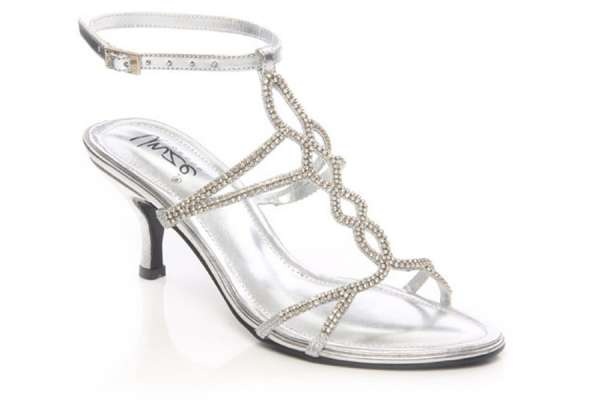 Women crystal adorned t-bar evening, party heeled sandal