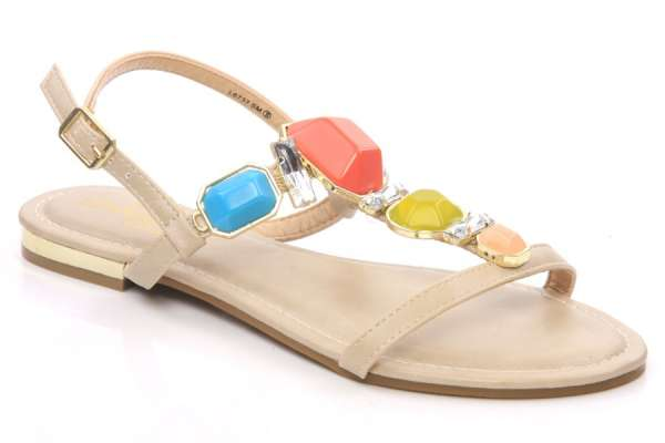 Women flat heel thong style casual sandals with large color gems