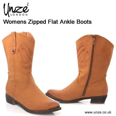 Buy online womens zipped flat ankle boots