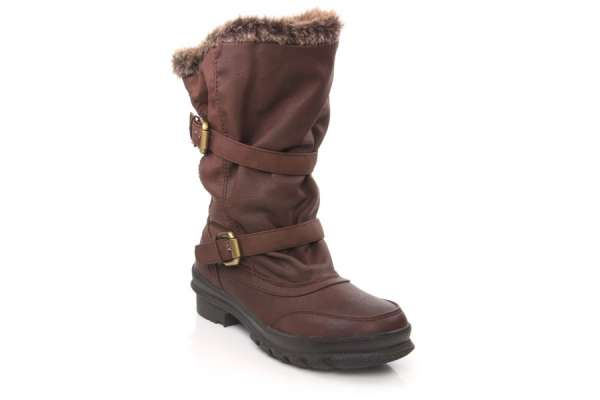 Women knee high winter boots with fur cuff and buckle closure