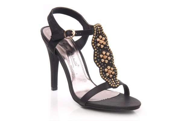 Women high heel thong style casual sandals with jewel embellishments