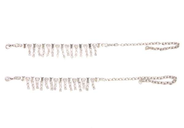 Buy online pair of silver diamante anklets