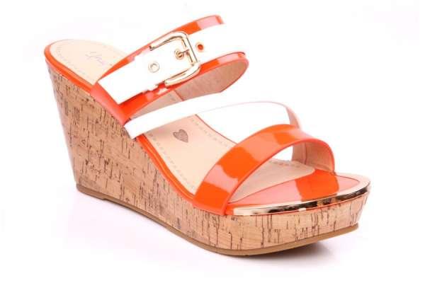 Womens high wedge 'fruity' sandal by unze london