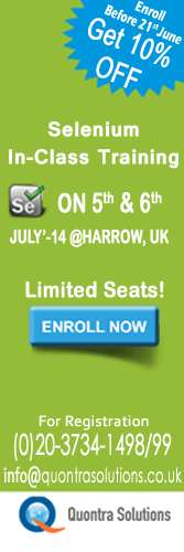 Selenium in class training by quontra solutions