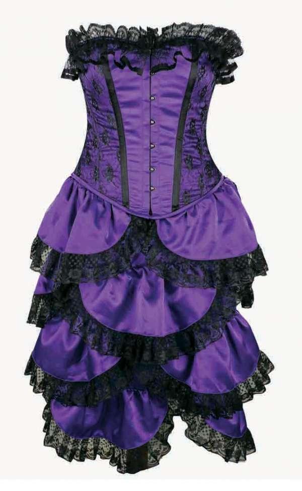Crazy chick steel boned full bust bustle purple lace corset (2 pcs)