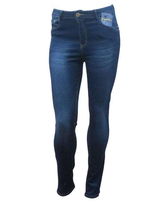 Mid blue straight leg shaper skinny stretch jeans with stitch detail