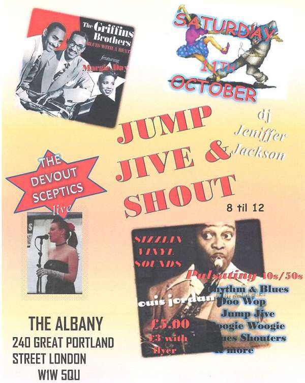 Jump jive and shout jive night with special guests the devout sceptics live