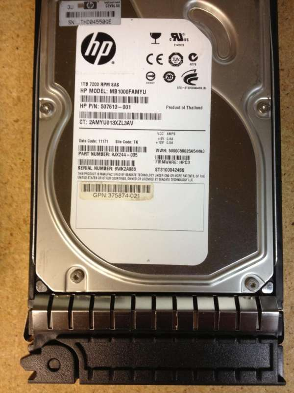 Hp-compaq 507613-001 1tb 7.2k rpm 6gbps mdl 3.5inch sas dp hard drive w-tray