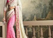 Cream Pink Party Wear Designer saree