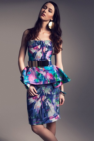 Colorful silk pemplum print dress