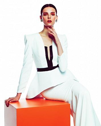 Stunning white peplum long dress