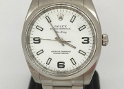 Pre-owned oyster perpetual rolex air king 114200 white dial