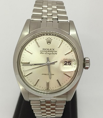 Pre-owned oyster perpetual rolex air king date 5700 silver dial watch