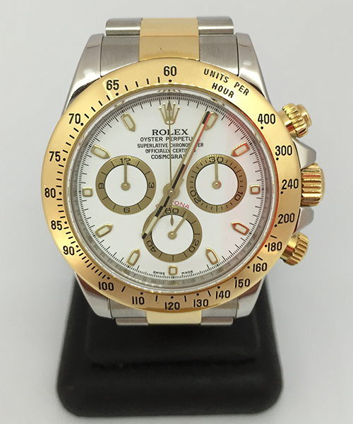 Pre-owned rolex daytona cosmograph 116523 white dial watch