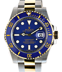 Pre-owned rolex submariner 116613 blue dial watch