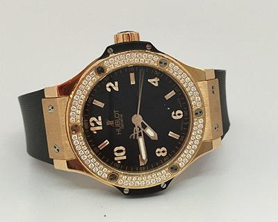 Pictures of Pre-owned hublot big bang quartz rose gold watch 2