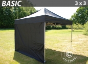 Pop up gazebo FleXtents Basic 3x3 m Black, incl. 4 sidewalls
