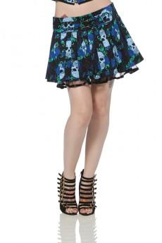 Blue skull ruffle skirt