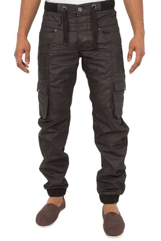 Mens cuffed black coated jeans at affordable price