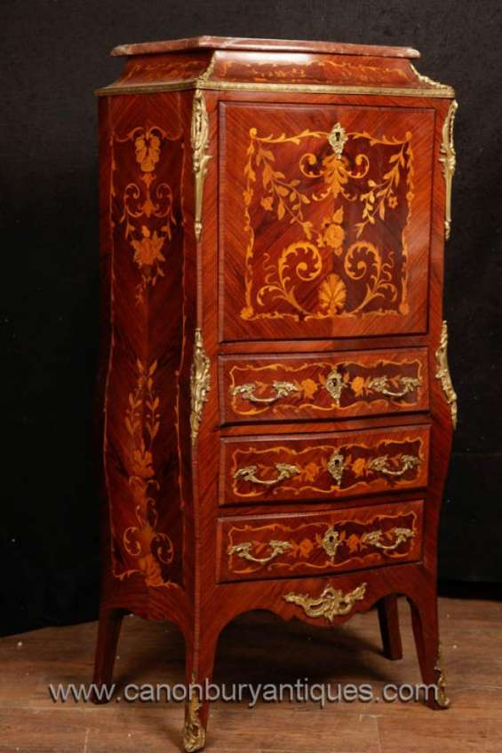 French empire secretaire chest desk marquetry inlay furniture