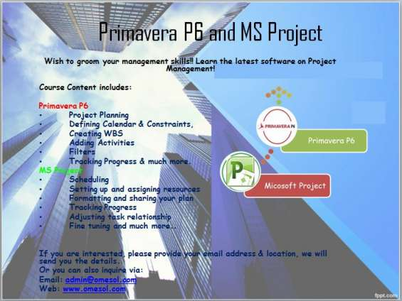 Primavera p6 course.