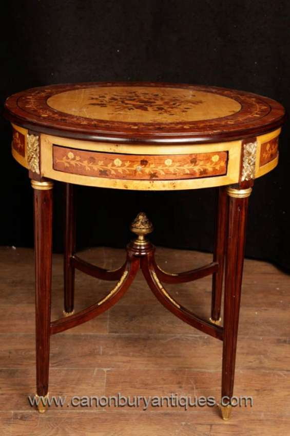 French empire side table cocktail tables marquetry inlay
