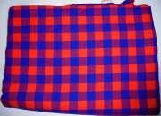 Masai shuka fabric red blue checked
