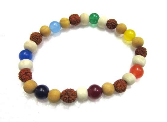 Chakra sandalwood rudraksha tulsi beads bracelet