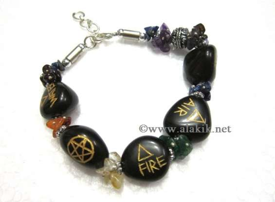 5 element tumble  chakra fuse wire bracelet