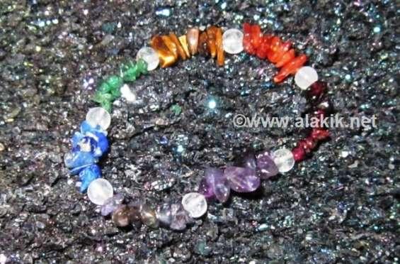 Chakra chips with crystal beads bracelets