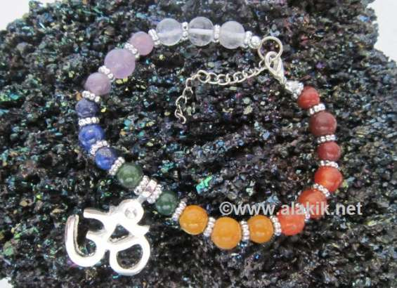 7 chakra om charm bracelet